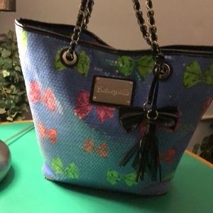 Betsey Johnson Light Blue Bowed Sequined Tote Bag